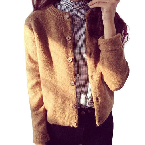 Women Autumn Winter Knitted Cardigan Thick Short Sweaters Basic Jumper