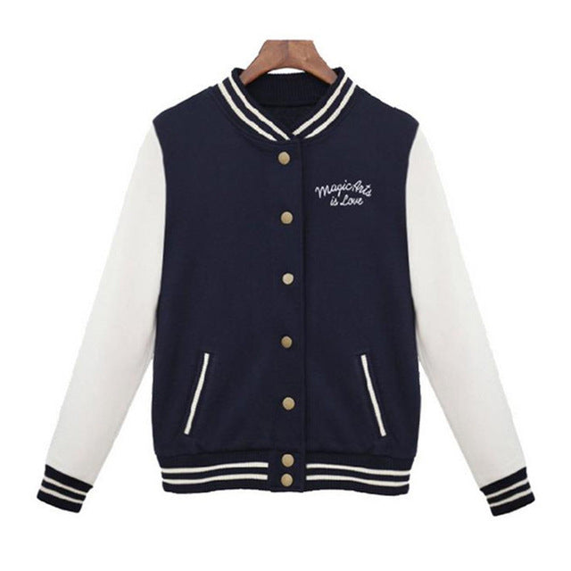 Classic Spring Autumn Women's Baseball Preppy College Bomber Jacket