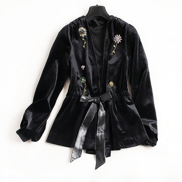 Winter New Style Beading Luxury Flower Velvet Cardigan Long Sleeve Jackets