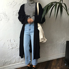 Autumn Fashion Women Winter Long Loose Black Cardigan Knit Sweater
