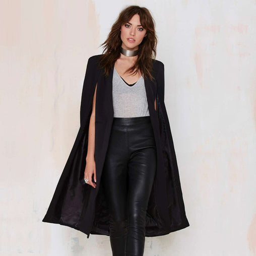 Women Fashion Casual Open Front Cloak Split Midi Trench Coats