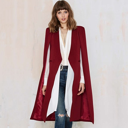 2018 Women Fashion Casual Open Front Cloak Split Midi Trench Coats