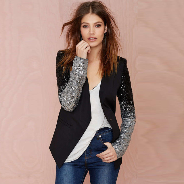 Spring Woman Sequin Patchwork Long Sleeves Jackets PU Leather Slim Causal Winter Outwear