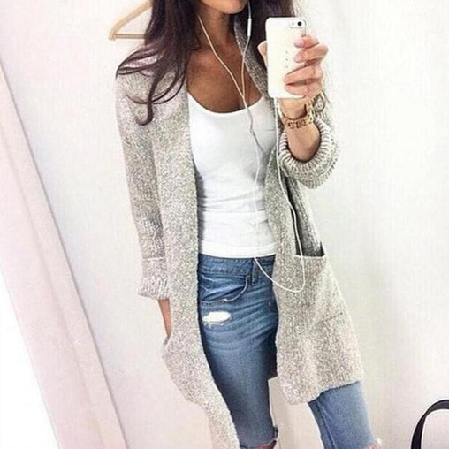 Woman Casual Knitting Long Cardigan Loose Jumper Warm Winter Sweater