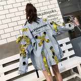 New Letters Embroidered With Yellow Ribbon Loose Denim Jackets