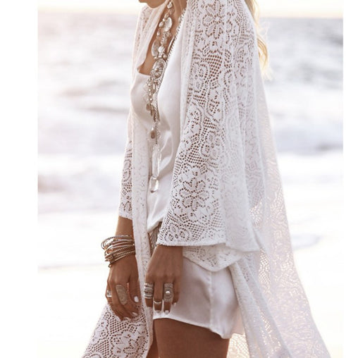 New Lace Women's Blouse Ladies Fringe Long Sleeve Kimono Knitted Cardigans