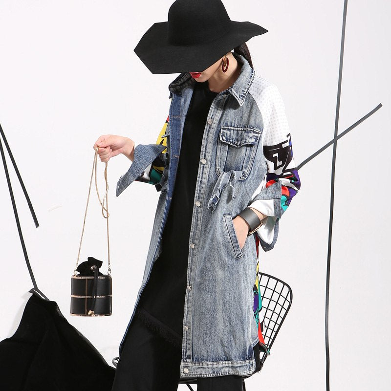 2018 New Autumn Spring Patchwork Lapel Printed Split Loose Long Denim Jackets