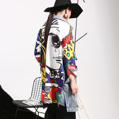 New Autumn Spring Patchwork Lapel Printed Split Loose Long Denim Jackets