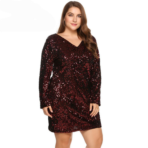 Dress Plus Size Sexy V-Neck Long Sleeve Sequined Cocktail Club Dresses
