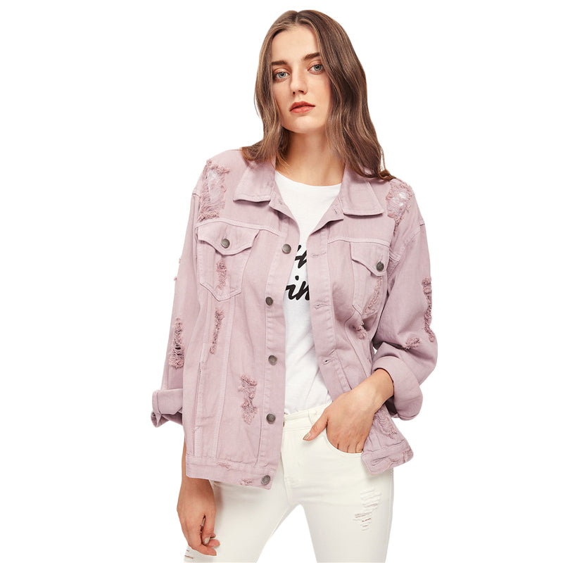 Autumn Spring Women's Denim Single Breasted Casual Jean Pink Jackets