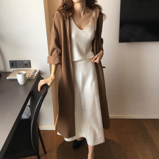 Women's Single Breasted Turn Down Collar Long Sleeve Thin Trench Coats