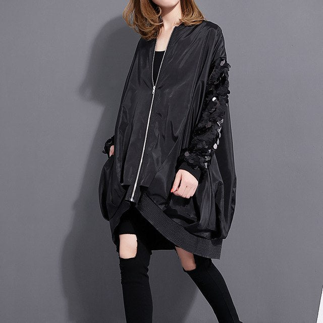 Autumn Winter Fashion New Sequined Long-sleeved Loose Zipper Thin Coats