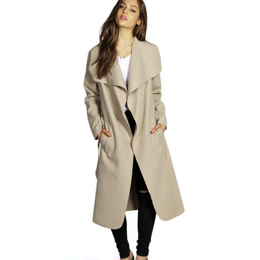Winter Coat Women Belt Pocket Wool Blend Coat Long Trench Outwear