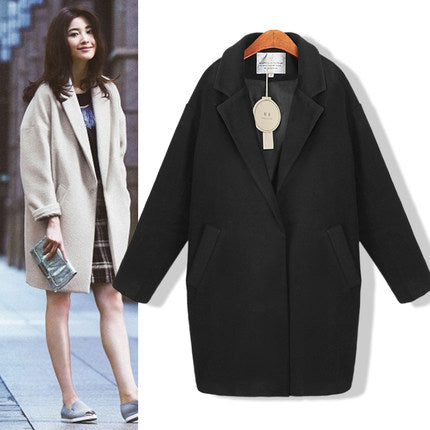 2018 Winter Autumn Spring Women Slim Blend Woolen Cocoon Outerwear Coats