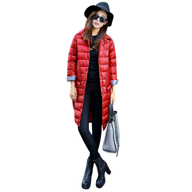 Autumn Winter Women's Slim Solid Turn-down Collar Long Sleeve Button Midi Coats