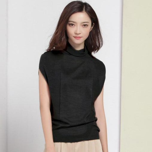 Woman Autumn Wool Soft Elastic Pullovers Turtleneck Short Sleeve Summer Sweater