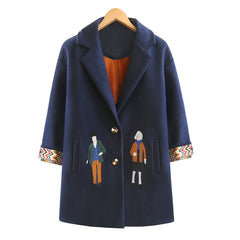 Autumn Fashion Embroidery Cartoon Outwear Winter Midi Coats
