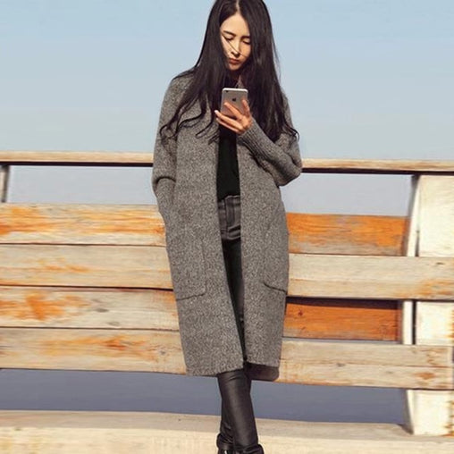 2018 Fashion Woman Autumn Winter Long Sleeve Knitting Cardigans Loose Sweaters