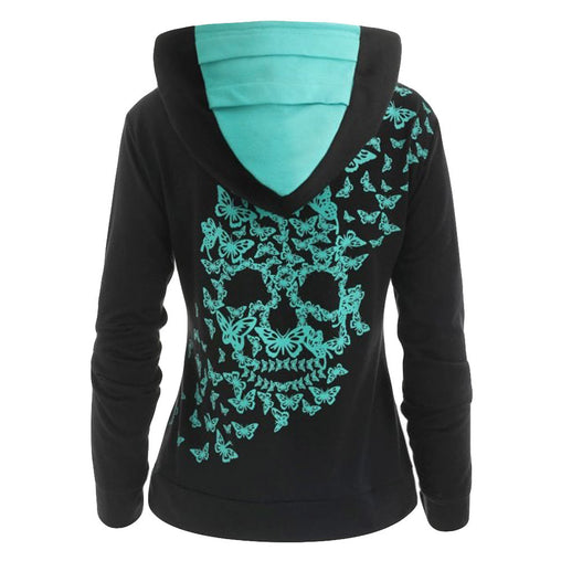Hooded Tops Black Sweatshirt Skull Printed Winter  Autumn Fashionable Comfortable Clothes
