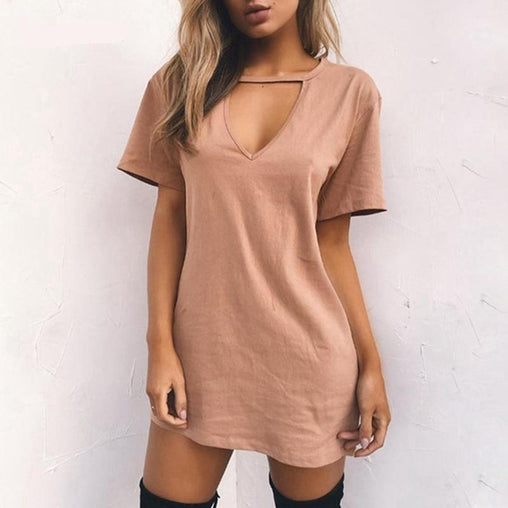 1ece7f2b9cd Sexy V-neck Cotton Summer Dress Solid Casual Loose Woman Plus Size Dresses