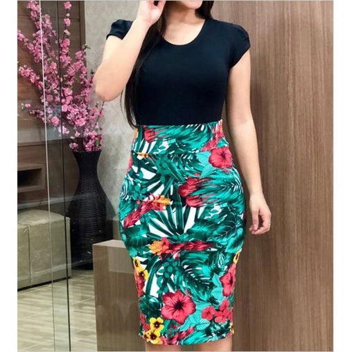 Summer Dress Sexy Vintage Elegant Floral Printed Pencil Evening Party Bodycon Plus Size Dresses