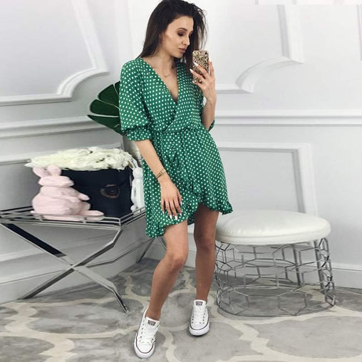 Short Women Dress Ruffles Printed Polka Dot Sexy Half Sleeve Summer Party Dresses