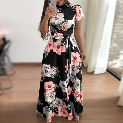 Beautiful Floral Printed Short Sleeve Maxi Dress Bandage Elegant Ruffled Dresses