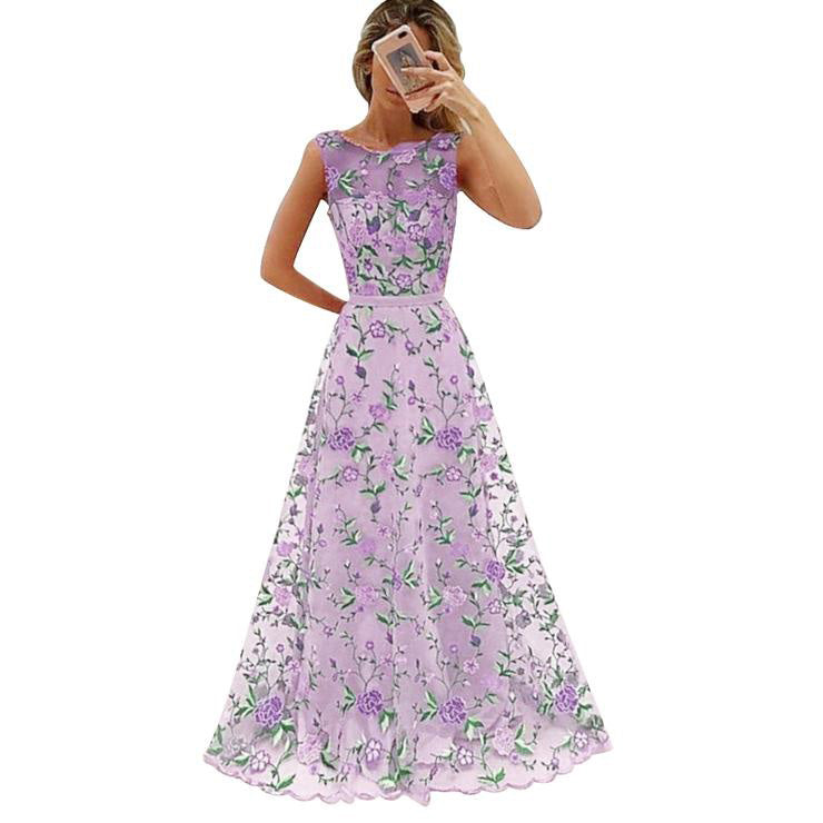 69f61c920846a Long Prom Dress Floral Embroidery Pink Purple Elegant Evening Party Maxi  Dresses