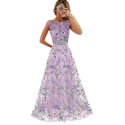 Long Prom Dress Floral Embroidery Pink Purple Elegant Evening Party Maxi Dresses