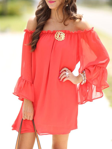 Red Flounced Off The Shoulder Long Sleeve Chiffon Summer Dress