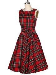 Red Hepburn Plaid Boat Collar Rockabilly Swing Vintage Dress with Bow
