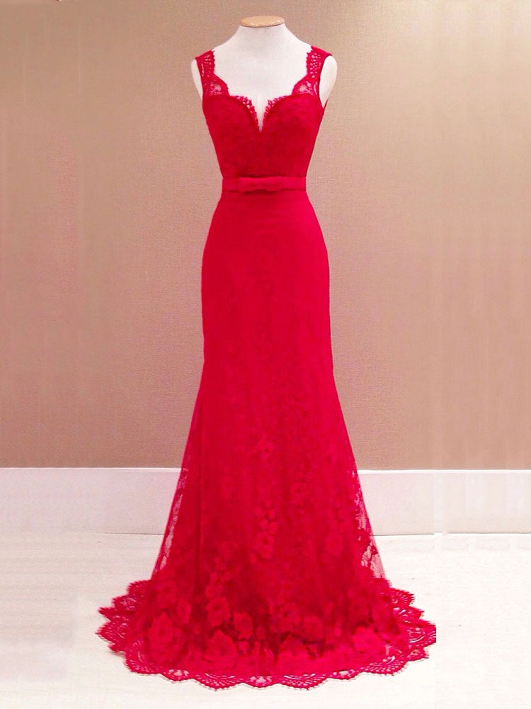 Red Evening Prom Dress Lace Open Back V-neck Long Maxi Dresses – VSChic