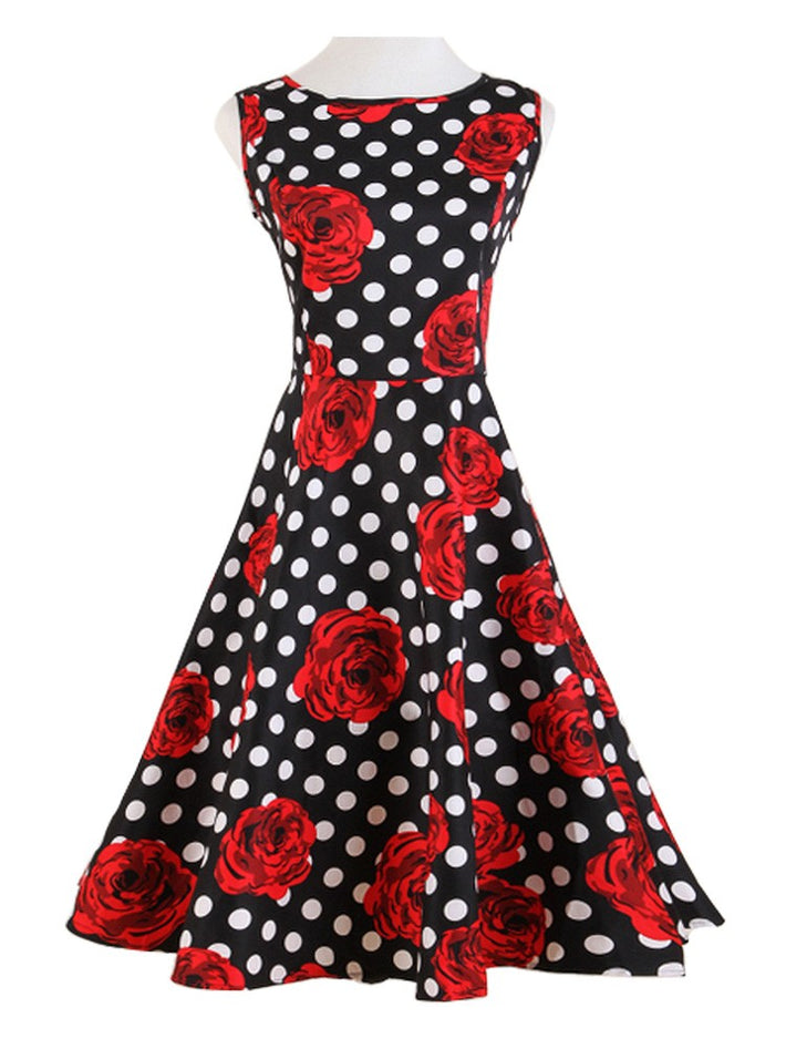 Rose Print Polka Dot Audrey Hepburn 50s Swing Insipred Vintage Dress
