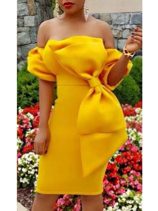 Yellow Red Off The Shoulder Cocoon Type Bow Evening Gown Party Dress