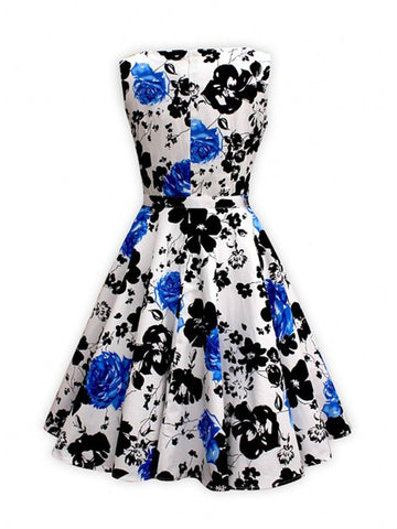Vintage Retro 50s Audrey Hepburn Flowers Printed Swing Party Dress