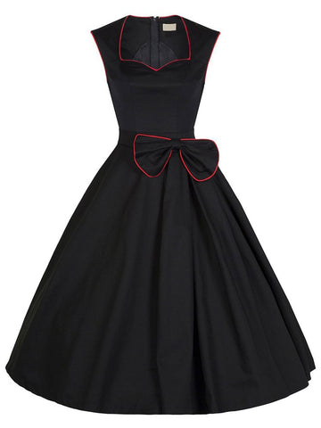 Vintage 50s Flared Dress Swing Gown Cocktail Party Dress with Bow