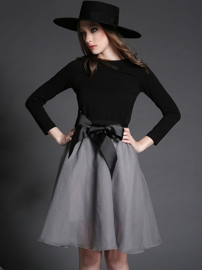 Retro Bowknot Two-Piece Stitching Cotton Audrey Hepburn Dress