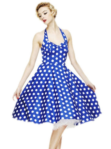 Vintage Polka Dot Halter Cocktail Party Swing Dress