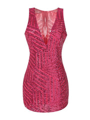Rose Red V-neck Sequined Party Club Bodycon New Years Eve Dress