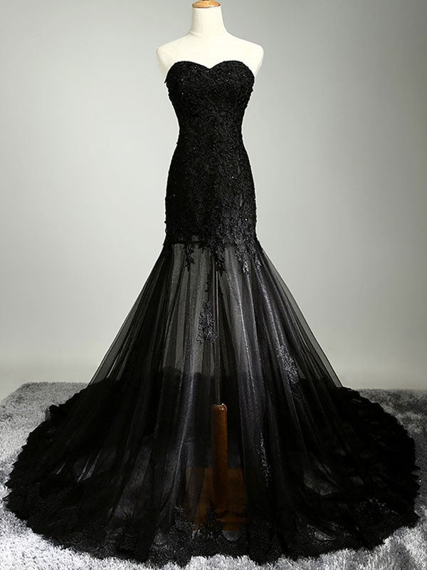 Black See-through Lace Tube Maxi Evening Wedding Prom Dress