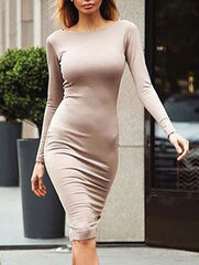Sexy Long Sleeve Open Back Zipper Midi Bodycon Pencil Party Dress