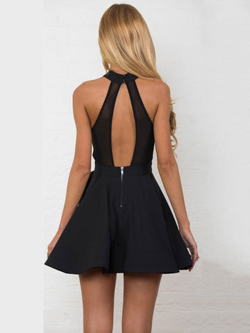 Sexy Backless Mesh Stitching Front Open Summer Mini Halter Skater Dress