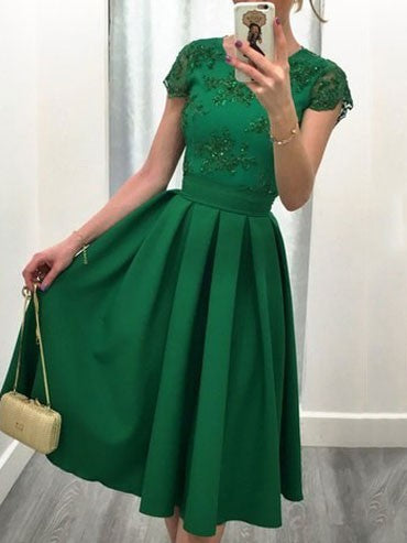 Sexy Backless Short Sleeves Midi Swing Gowns Evening Party Dress