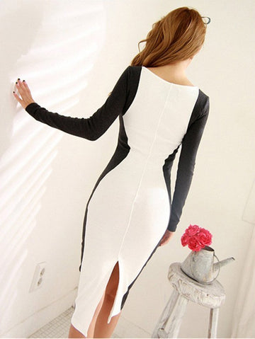 Pencil Black and White Long Sleeve Bodycon Dress Workwear