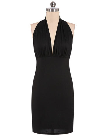 Sexy Club Black V-neck Backless Halter Bodycon Dress