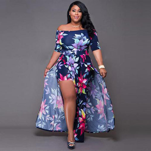 Sexy Blue Floral Asymmetrical Bohemian Boho Off Shoulder Summer Party Dress Plus Size Dresses