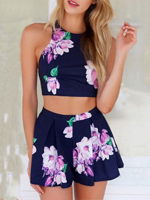 Blue Flower Print Jumpsuit Two Piece Sports Suits Tops Shorts Rompers