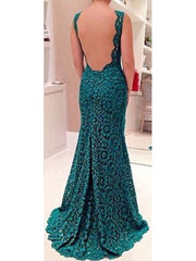 Sexy Sheath O-Neck Long Green Backless Lace Evening Party Dress