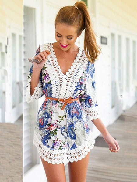 Summer Blue Floral Three Quarter Sleeve Casual Dress