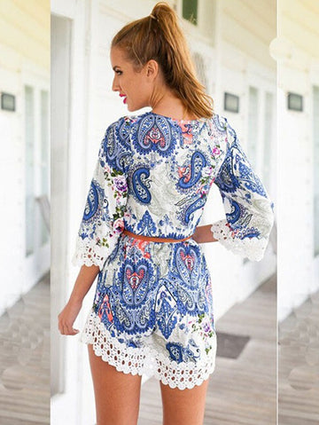 Summer Floral Print Lace Trim Three Quarter Sleeve Casual Dress